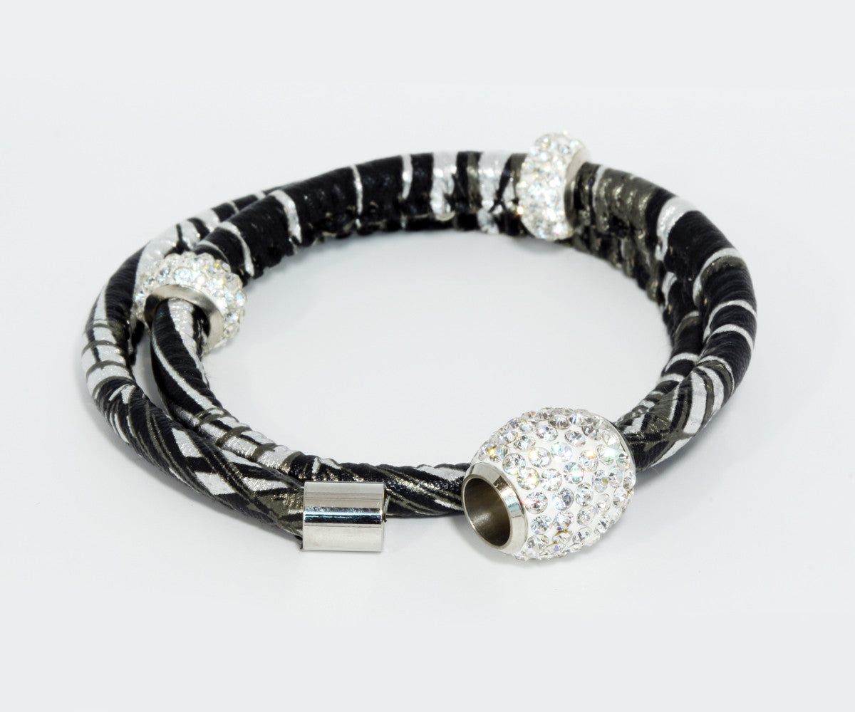 Double Wrap Swarovski Crystals Silver Leather Bracelet