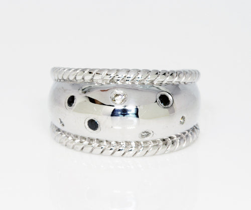 Black and White Diamond Wide Silver Ring