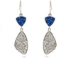 Double Drop Trillion Blue and Platinum Druzy Earrings