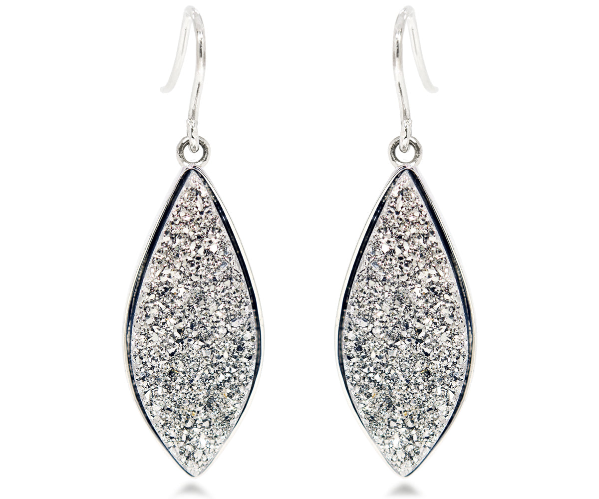 large marquise platinum crystal druzy drusy dangle women earrings