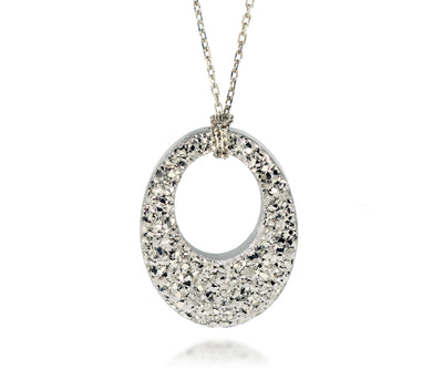 Ambrosia open oval platinum druzy fashion silver drusy necklace