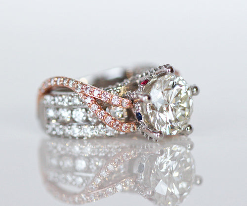 contemporary modern diamond pave twist pink gold wedding ring
