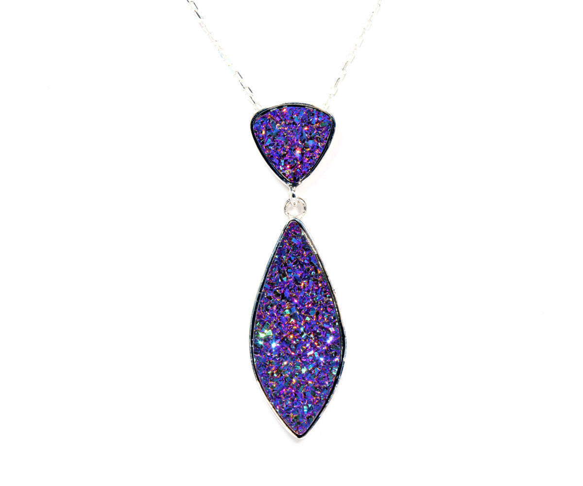 Double Drop Marquise Purple Rainbow Druzy Necklace