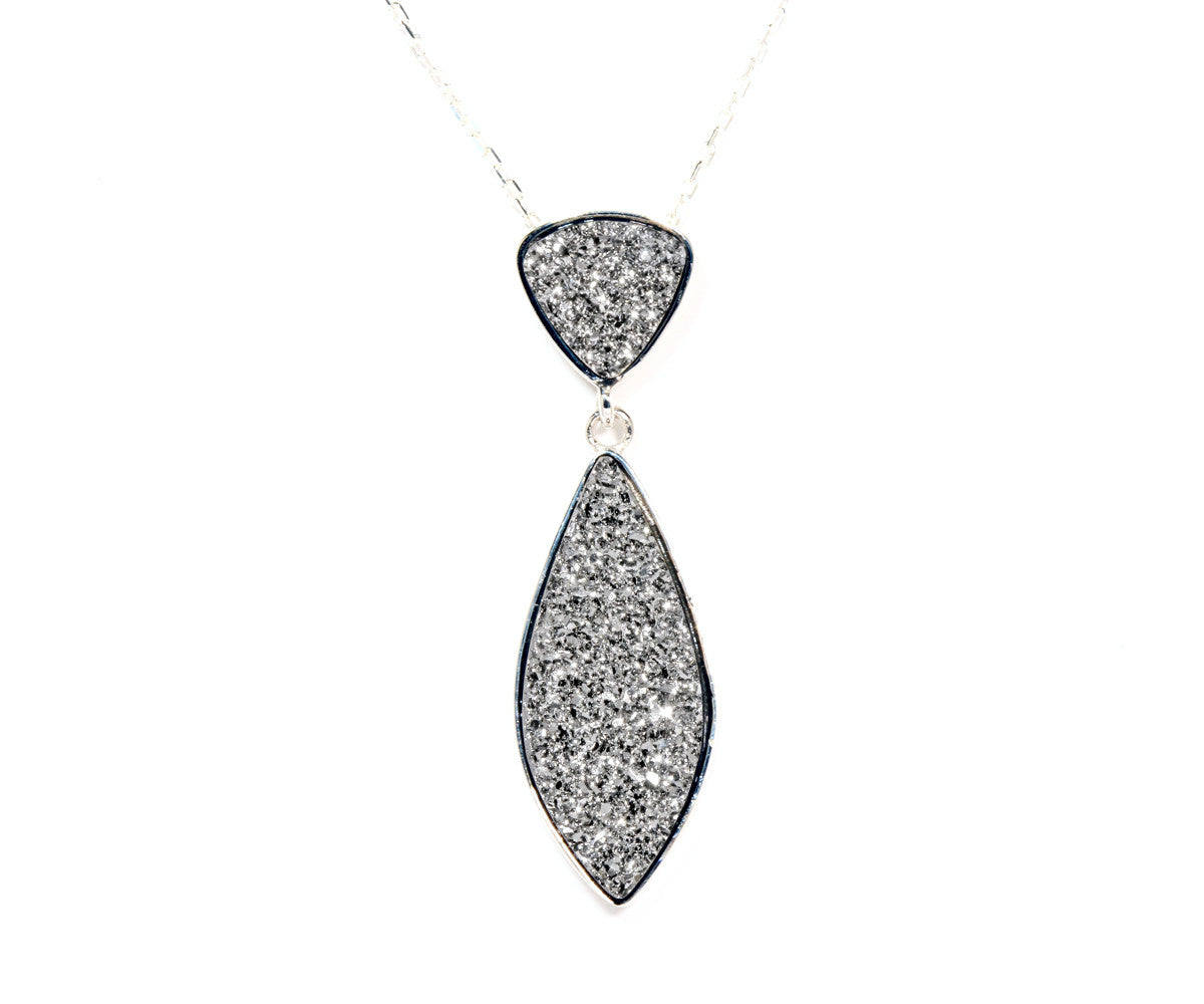 Double Drop Marquise Platinum Druzy Necklace