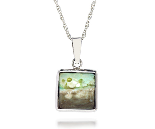 Scenic Mossy Small Square Opal Petrified Wood Necklace