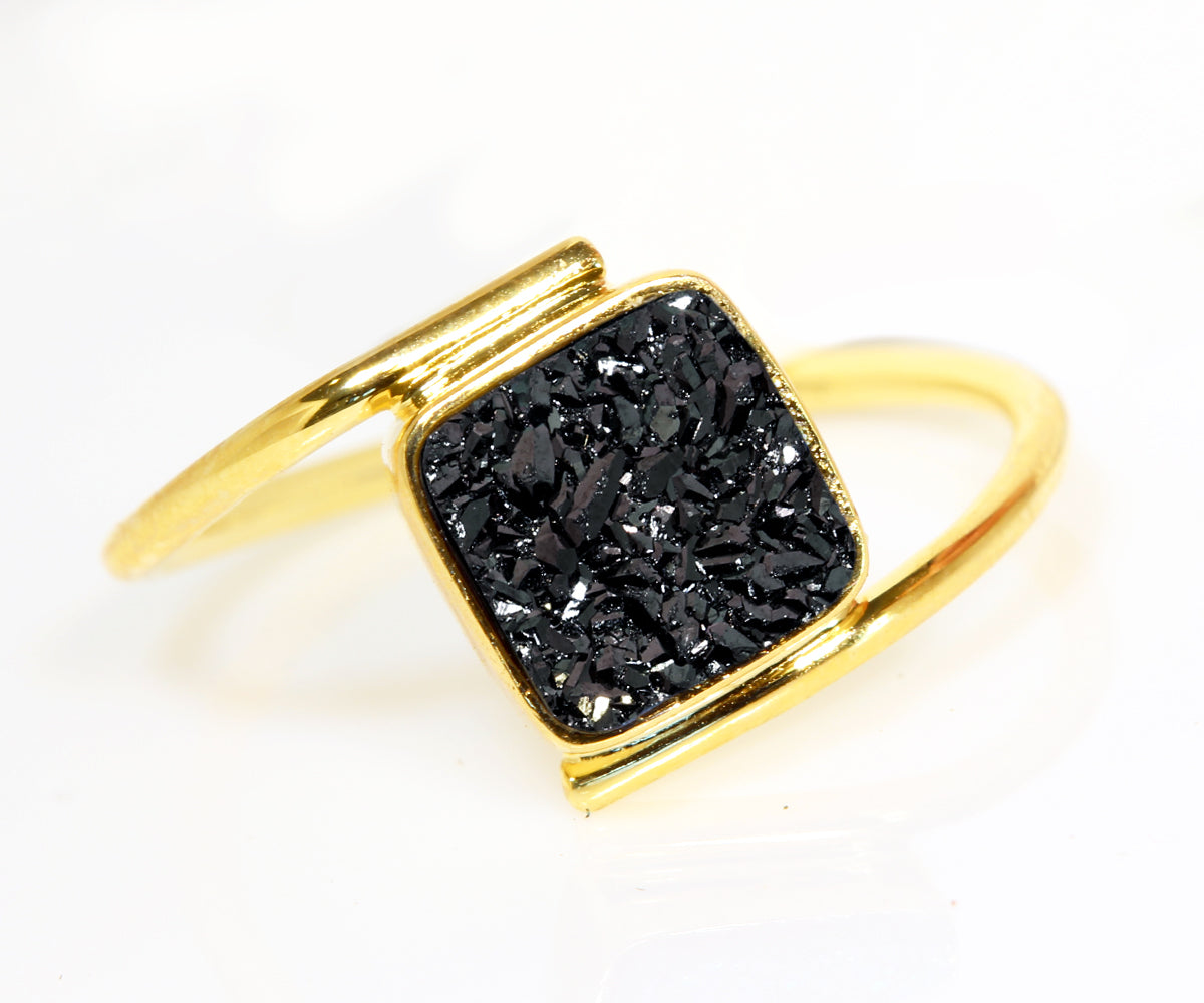 Bypass Square Black Druzy Gold Ring