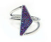 Double Twist Purple Rainbow Druzy Ring