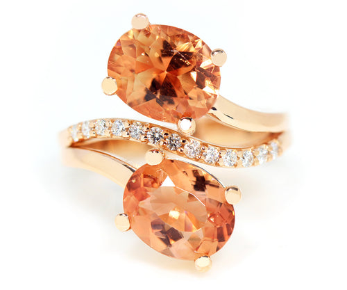 Ambrosia custom sunstone diamond orange pink rose gold twist ring