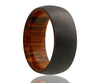 Black Zirconium Cocobolo Wood Inlay Ring