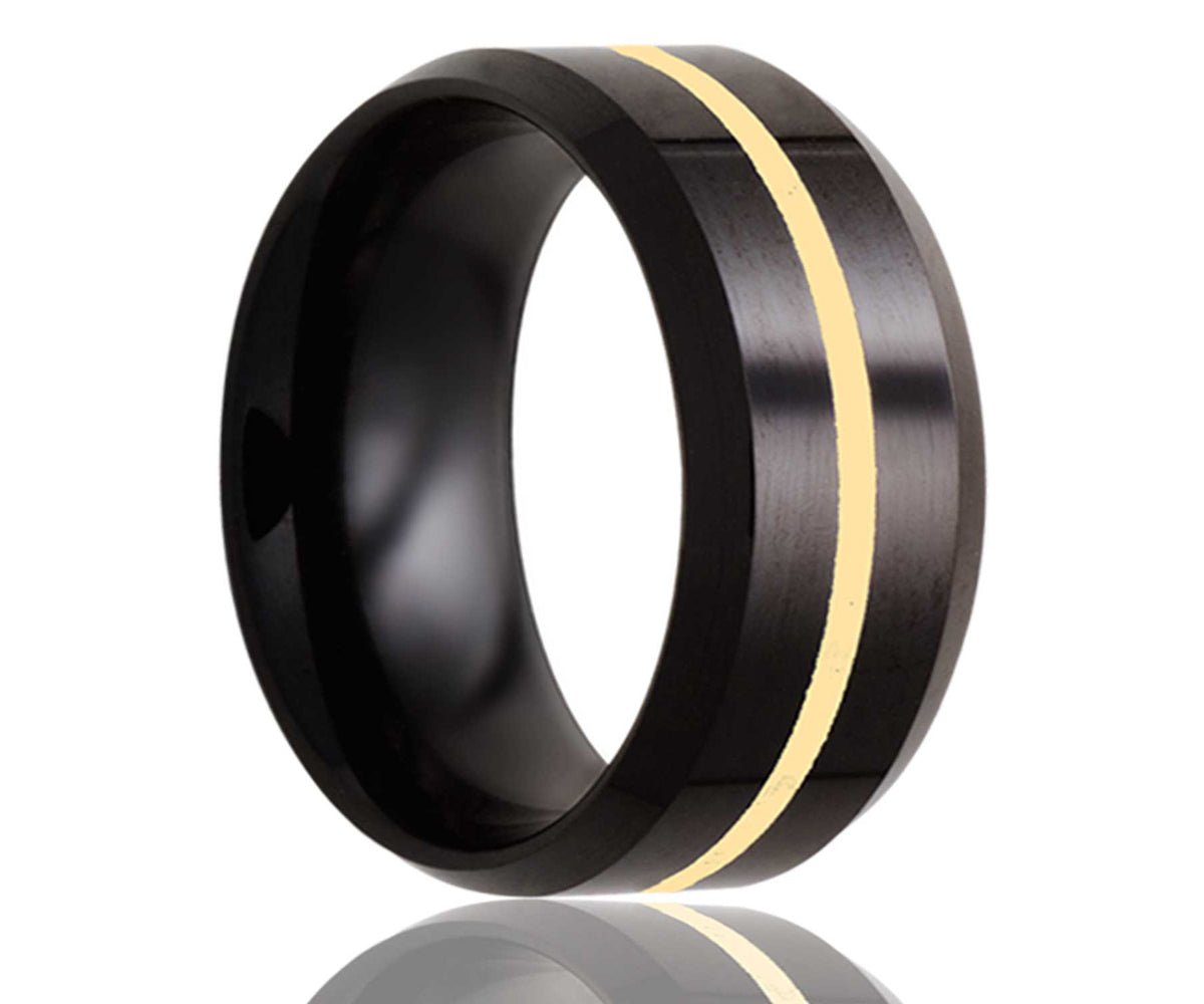 Black Beveled Edge Gold Inlay Ceramic Ring