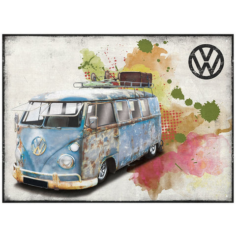 Officially Licensed Volkswagen Aged Grunge Metal Wall Sign 300 x 410mm