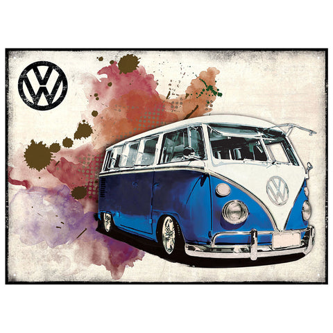 Officially Licensed Volkswagen Camper Grunge Dark Blue Metal Wall Sign 300 x 410mm