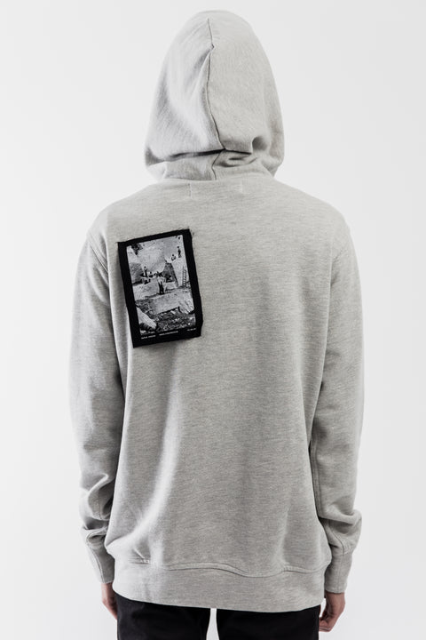 GREY FRENCH TERRY PATCHWORK HOODIE