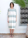 Nora Teal Trio Mid Sleeve Stripe Designer Cover-Up Dress On Model