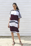 Nora White & Burgundy Striped Mid Sleeve Beach Dress, low stock, more coming soon...