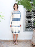 Soran Navy Trio Stripe Oversize Luxury Beach Cover-Up Dress On Model
