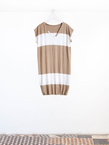 Leila Big Stripe T-shirt Sleeve Midi Dress