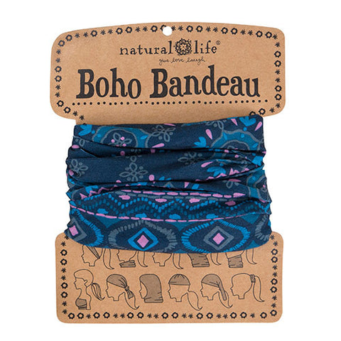 Boho Bandeau in Navy with Pink Turquoise Diamonds
