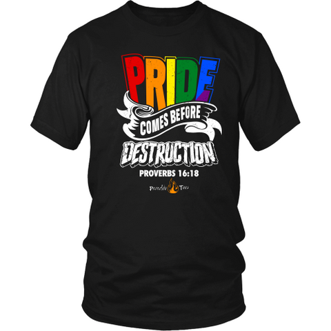 Pride Comes Before Destruction Christian T-Shirt (Mens/Unisex) (Multiple Colors)