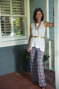 Designer Palazzo Pants - Orange Bloom