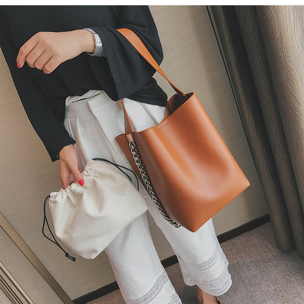 Large Chain Bucket Tote Bag