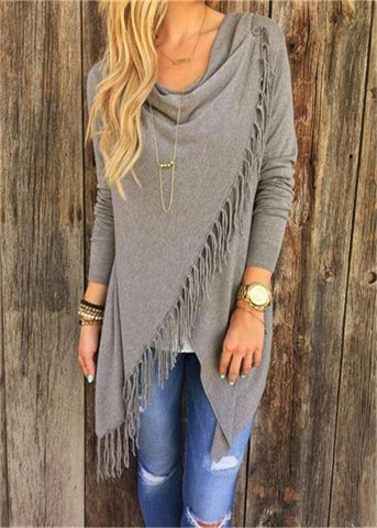 Knitted Tassel Poncho