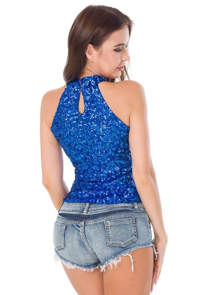 Sequin Open Shoulder Top