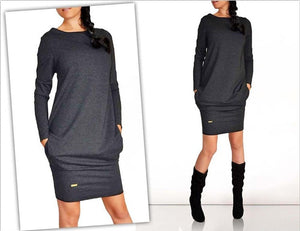 Long Sleeve O-Neck Mini Dress