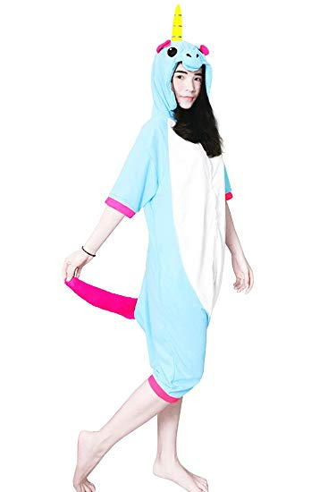 Blue Unicorn Short Sleeve Onesie for Adults