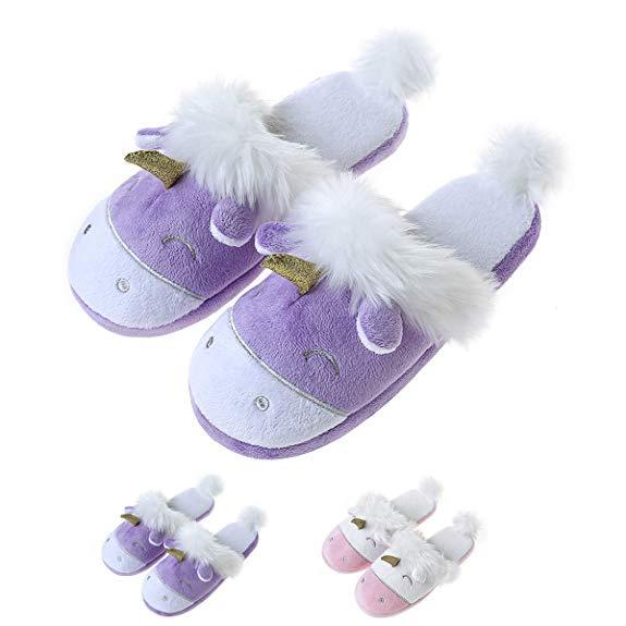 Comfy Purple Unicorn Slippers