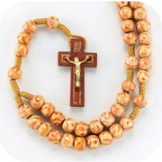 8mm Round Light Wood Marbleized Rosary with Wood Crucifix.