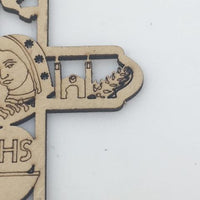 Carved Wood Catholic Key Chain