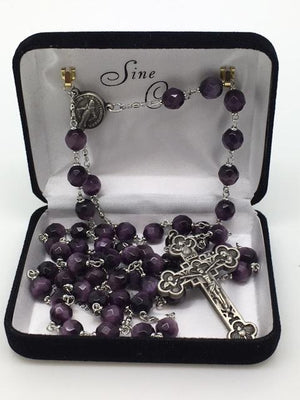 Purple Cats Eye Rosary (8mm)
