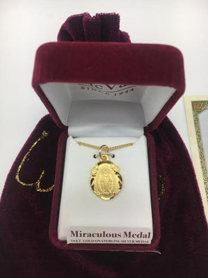 Gold over Sterling Silver Miraculous Medal (3/4
