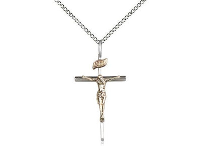 Sterling Silver and Gold Filled Two Tone Crucifix (1