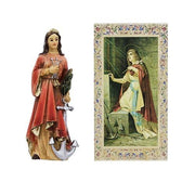 St Philomena Statue. Hand Painted Solid Resin 4""