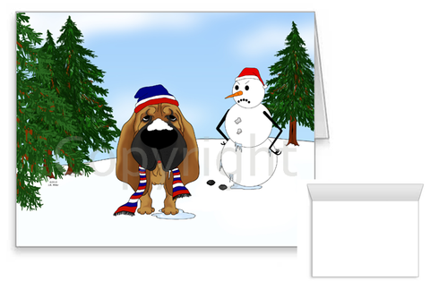 Bloodhound Winter Scene Greeting Cards