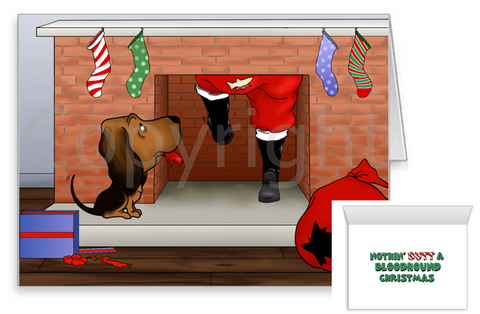 Bloodhound Santa Butt Greeting Cards