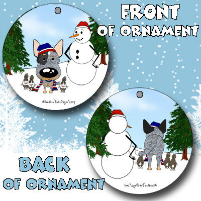 Blue Heeler Snowman Christmas Ornament