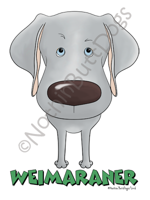 Big Nose Weimaraner Light Colored T-shirts