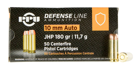 PPU PPD10 Handgun Defense  10mm Automatic 180 GR Jacketed Hollow Point 50 Bx/ 10 Cs