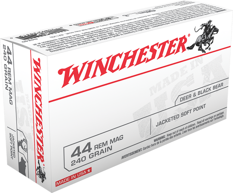 Winchester Ammo Q4240 Best Value 44 Remington Magnum 240 GR Jacketed Soft Point 50 Bx/ 10 Cs