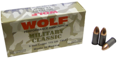 Wolf MC919FMJ Military Classic 9mm Luger 115 GR Full Metal Jacket 50 Bx/ 10 Cs - 500 Rounds