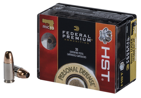 Federal P9HST5S Premium Personal Defense 9mm Luger 150 GR Jacketed Hollow Point 20 Bx/ 10 Cs