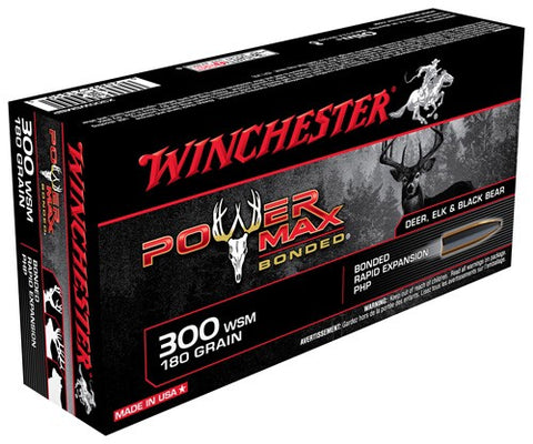 Winchester Ammo Power Max .300Wsm 180gr. Power Max Bonded 20-Pack