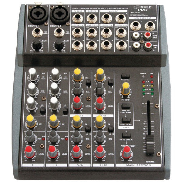 Pyle Pro Pexm801 10-Channel Balanced Imp Audio Mixer With Preamp