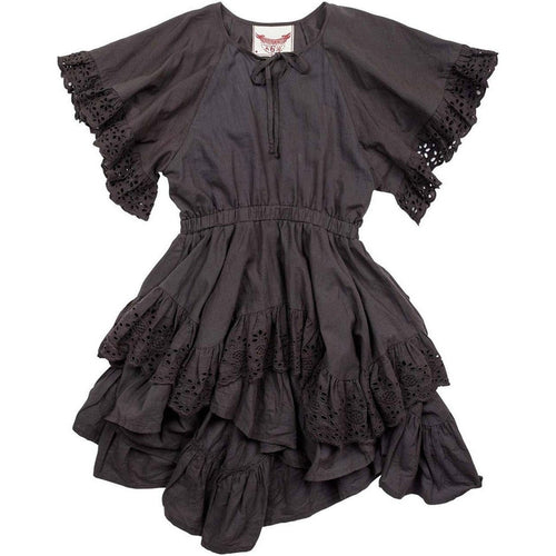 charcoal frilled lace swing dress