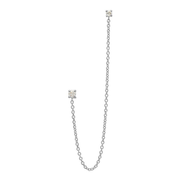 2 Diamond Long Chain Linked Earring