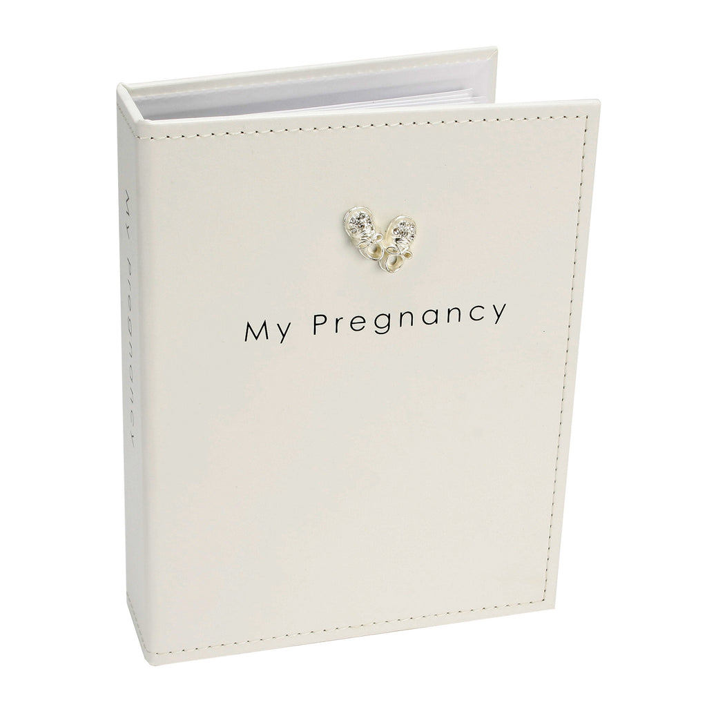 Pregnancy Journal - ivory faux leather with silver boot icon
