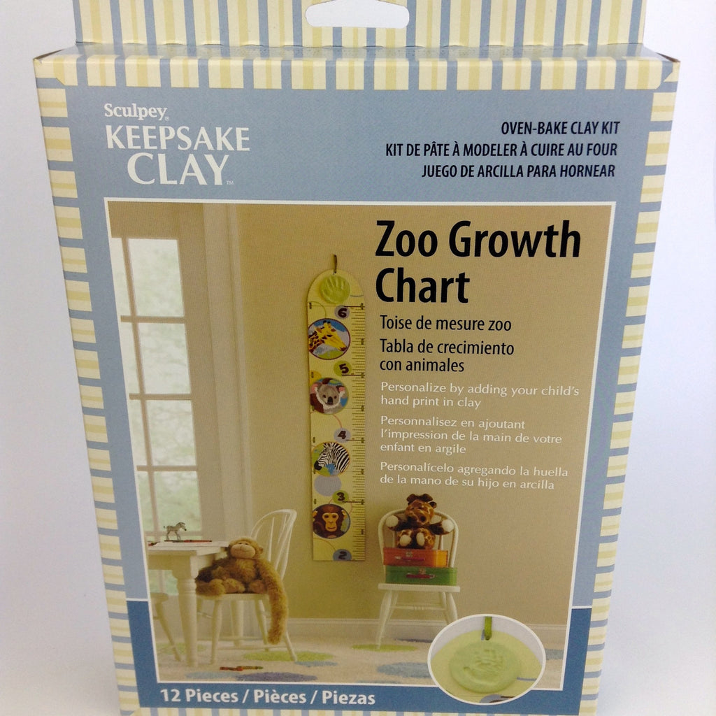 Growth Chart & Handprint Moulding Clay, Zoo Themed